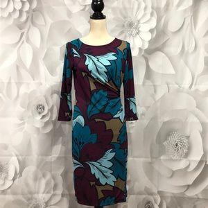 Talbots Purple/Teal 3/4 Sleeve Faux Wrap Dress S